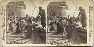 Pescatori A Riva Da Galilea Tiberias Palestina Foto Stereo Vintage Albumina