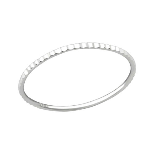 Diamond Cut Line Skinny Sterling Silver Stacking Ring 1mm