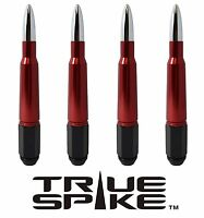 16 Vms Racing 7 Inch 12x1.5 Lug Nuts W/ Red Chrome 50 Cal Bullet Spikes B