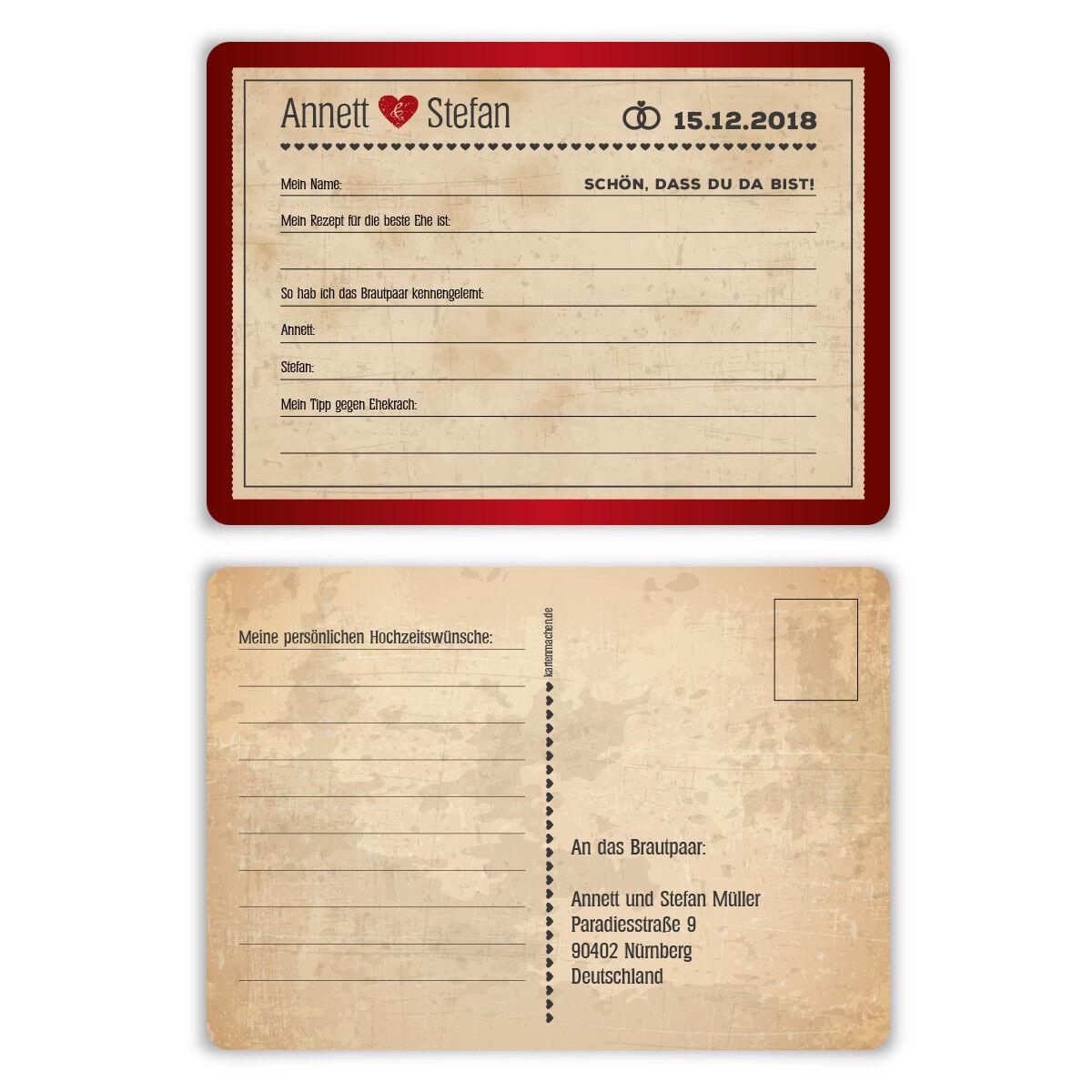 Hochzeitsspiel Fragerunde Postkarte Fragen Antworten - Vintage Herz in Rot | Modern Und Elegant In Der Mode  | Großhandel