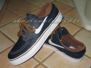 best service 34157 e138a Image is loading Nike-SB-Zoom-Stefan-Janoski-Leather-Obsidian-White-