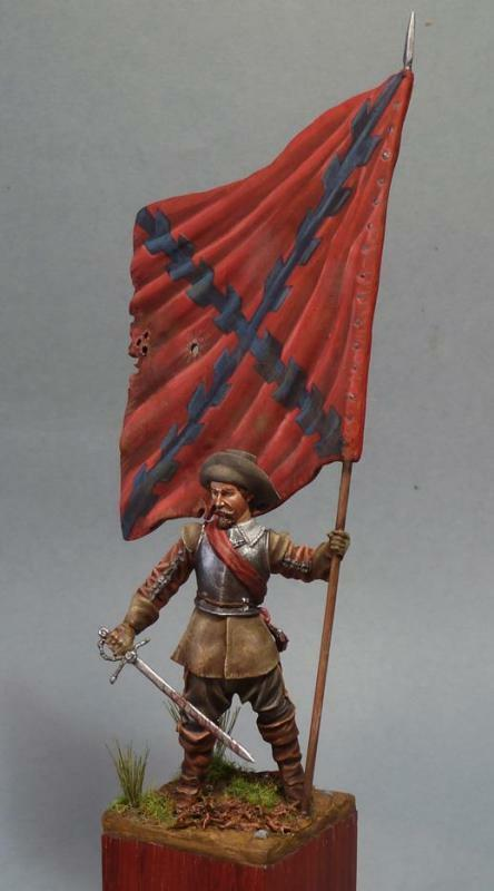 Spanish Standard Bearer Tercio at Battle of Rocroi Tin Painted Toy Soldier   Art