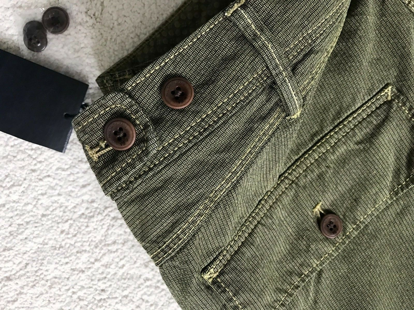Paul Smith BOTTONI FLY Cargo Stile Jeans Pantaloni in verde verde verde 32 R 17df9b