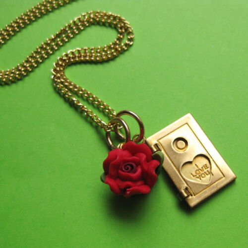 MY LITTLE VINTAGE LOVE BOOK LOCKET CHARM NECKLACE BRASS RED ROSE I LUV YOU NOTE
