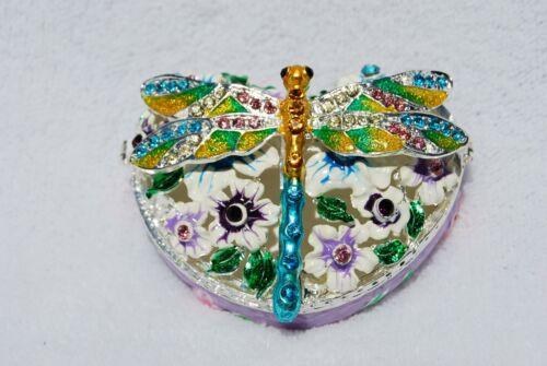 DRAGONFLY HEART BOX SWAROVSKI CRYSTAL BEJEWELED ENAMELED HINGED TRINKET BOX