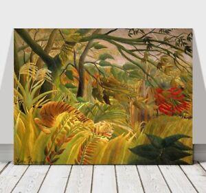 HENRI-ROUSSEAU-Surprised-CANVAS-ART-PRINT-POSTER-Tiger-24x16-034