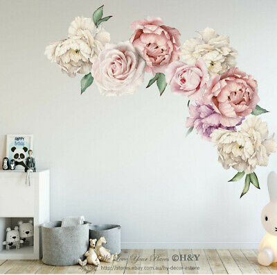 Fine Rose Flowers Wall Sticker,Peony Rose Flowers Wall Sticker Art Nursery Decals Kids Room Home Decor Gift