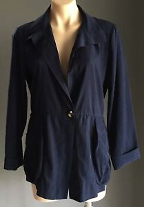 NWOT-Navy-Blue-HAMMOCK-amp-VINE-Lightweight-Drawstring-Waist-Jacket-Size-8