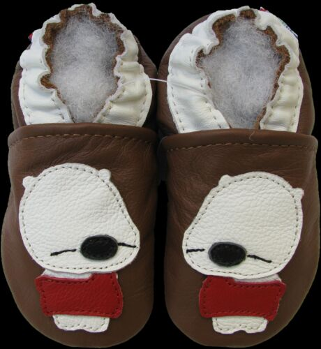 carozoo sleepy bear brown 6-12m soft sole leather baby shoes