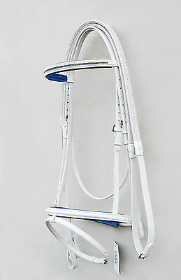 LEATHER NEW HORSE DIAMANTE BRIDLE IN WHITE COLOR/R.BLUE PADDED IN FULL,COB,PONY