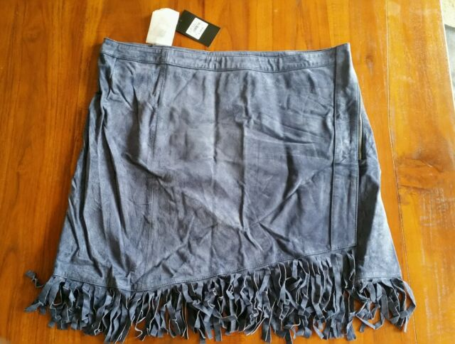 Events Navy Stretch suede fringe skirt sz16 BNWT free post RRP $299 (e92)