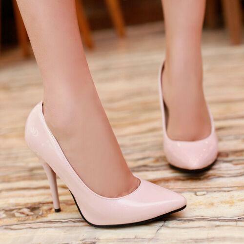 Femmes Bout Pointu Talons Aiguilles High Heels Chaussures Slip On Classic Party Escarpins