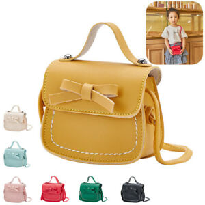 Kids Girl Shoulder Bag PU Leather Bowknot Handbag Princess Crossbody Purses Gift