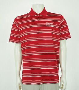 New-Adidas-Budweiser-Red-Tech-Blend-Golf-Polo-Shirt-Mens-Medium