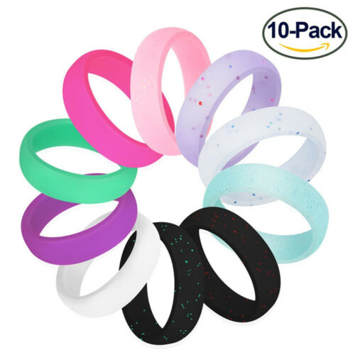 10pcs// Pack Mens Women Silicone Causal Sporty Ring Flexible Rubber Band Gift 5-9