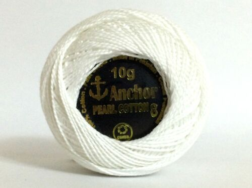 3 x Solid Colour Anchor Crochet Cotton embroidery thread Ball WHITE COLOR