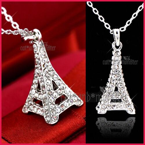 18K WHITE GOLD GF PARIS EIFFEL TOWER LADY GIRLS CRYSTAL PENDANT NECKLACE JEWELRY