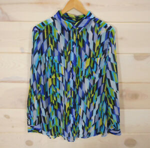 Liz-Claiborne-Women-039-s-Sz-L-Blouse-Sheer-Button-Front-Blue-Geometric-Pattern