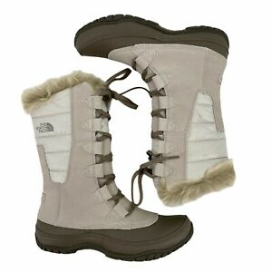 The-North-Face-Nuptse-Purna-Ivory-Moonlight-Faux-Fur-Cuff-Boots-Womens-Size-8