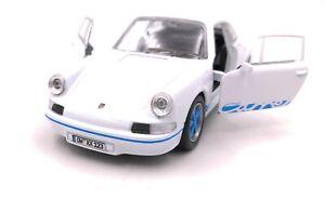 PORSCHE-CARRERA-RS-voiture-de-sport-voiture-miniature-avec-desir-indicateur-bleu-echelle-1-34