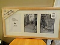 Jcpenney Natural Finish Hand Crafted Solid Wood 20 X 10 Frame Holds 3 Photo 5 X7