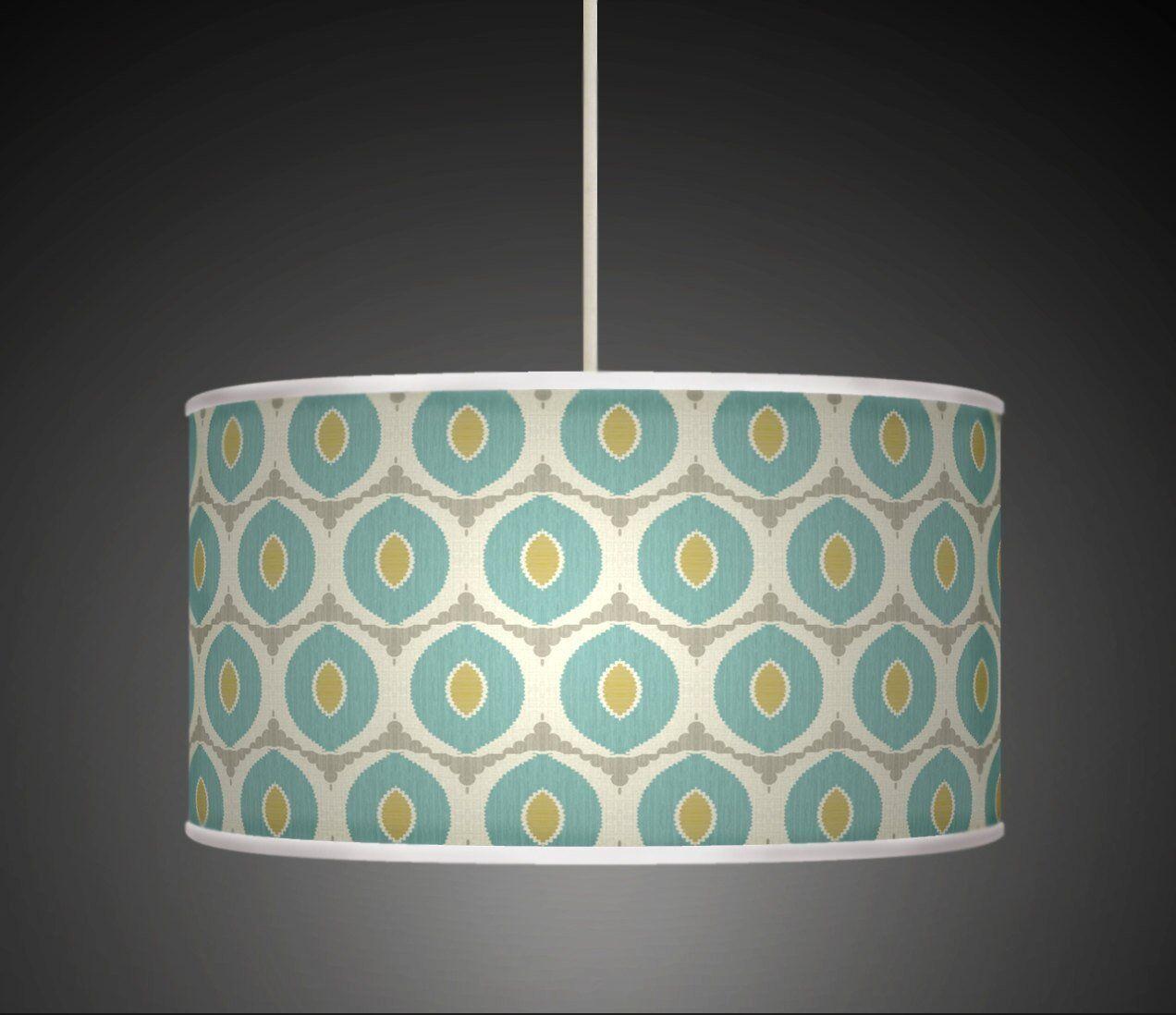 Ovels bleu vert fait main imprimé abat-jour tissu lampe tambour abat-jour imprimé 348 d06ab9