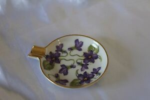Vintage-Mitterteich-Bavaria-Germany-Small-Ashtray-w-Purple-Violets-Gilded