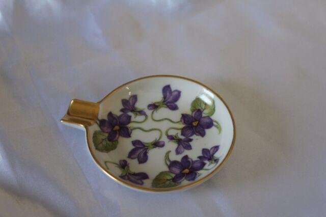 Vintage Mitterteich Bavaria Germany Small Ashtray w/ Purple Violets Gilded