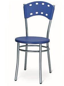 Sedia Da Cucina Plastica.Dettagli Su Sedia Da Cucina Bar Ristorante In Metallo Con Seduta E Scienale In Plastica Mod