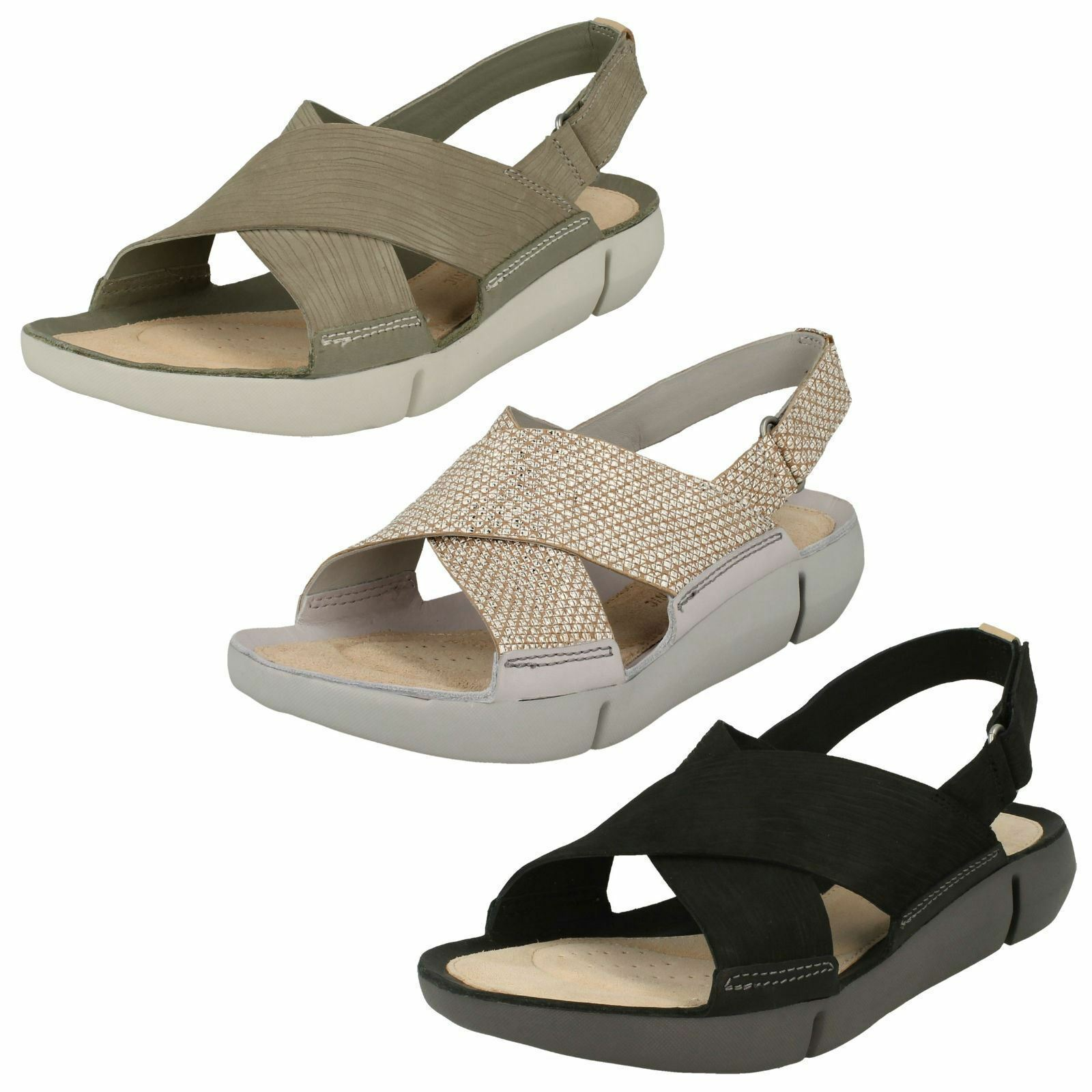 Último gran descuento Ladies Clarks Tri Chloe Casual Leather Crossover Sandals D Fitting