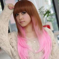 Fashion Full Long Straight Pink Brown Hair Harajuku Cosplay Costume Wigs Women