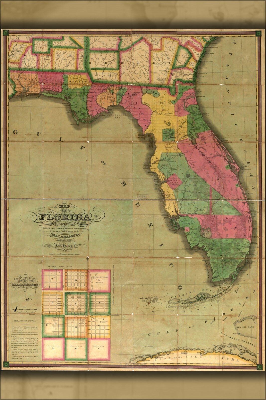 Poster, Many Größes; Map Of Florida 1829