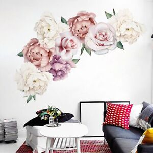 Details About Peony Flowers Blossom Art Wall Sticker Living Room Mural Decal Diy Bedroom Decor