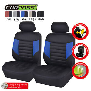 Universal-Car-Seat-Covers-2-Front-Blue-Black-Breathable-For-Hyundai-Honda-Toyota