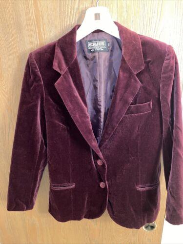 Chaus Red Maroon Velvet Rayon 2 Button Blazer Jac… - image 1