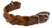 "Showman 1"" Wide Braided Leather Curb Strap With Buckles"