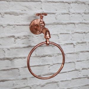 Details Sur Cuivre Metal Anneau De Serviette En Porte Vintage Retro Industriel Salle De Bains Accessoires Afficher Le Titre D Origine