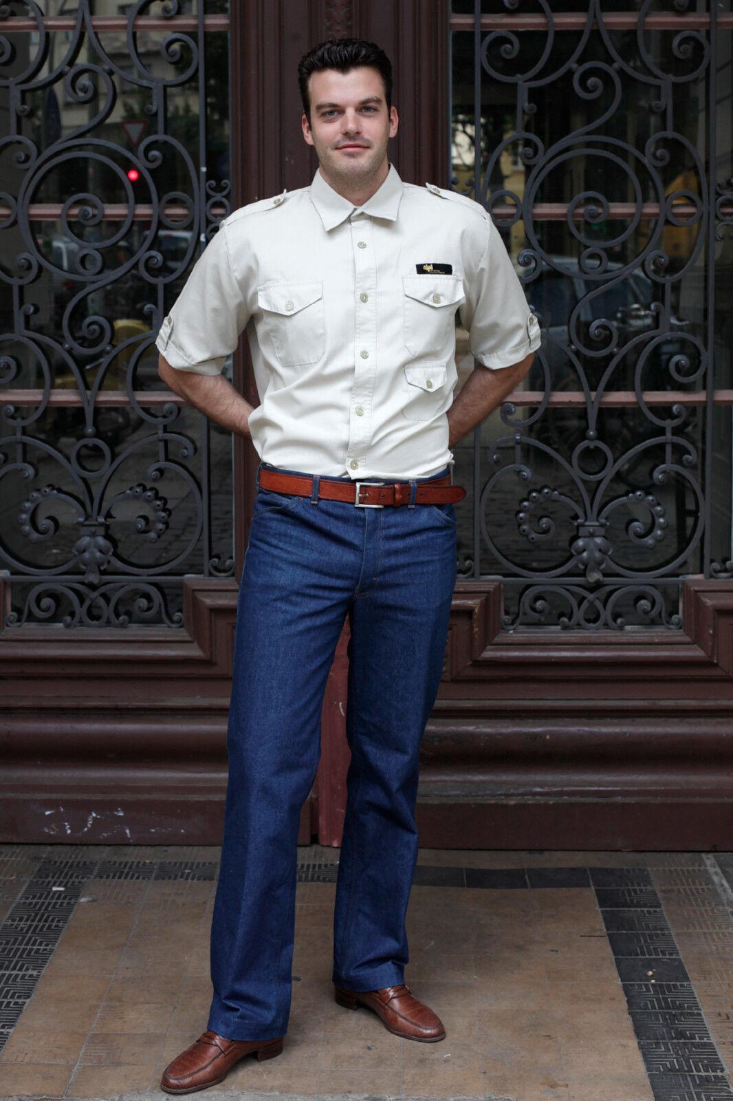 Alpi GDR Exclusive Exclusive Exclusive Uomo Safari Camicia Shirt Beige 70er DDR True Vintage 70´s men 10087b