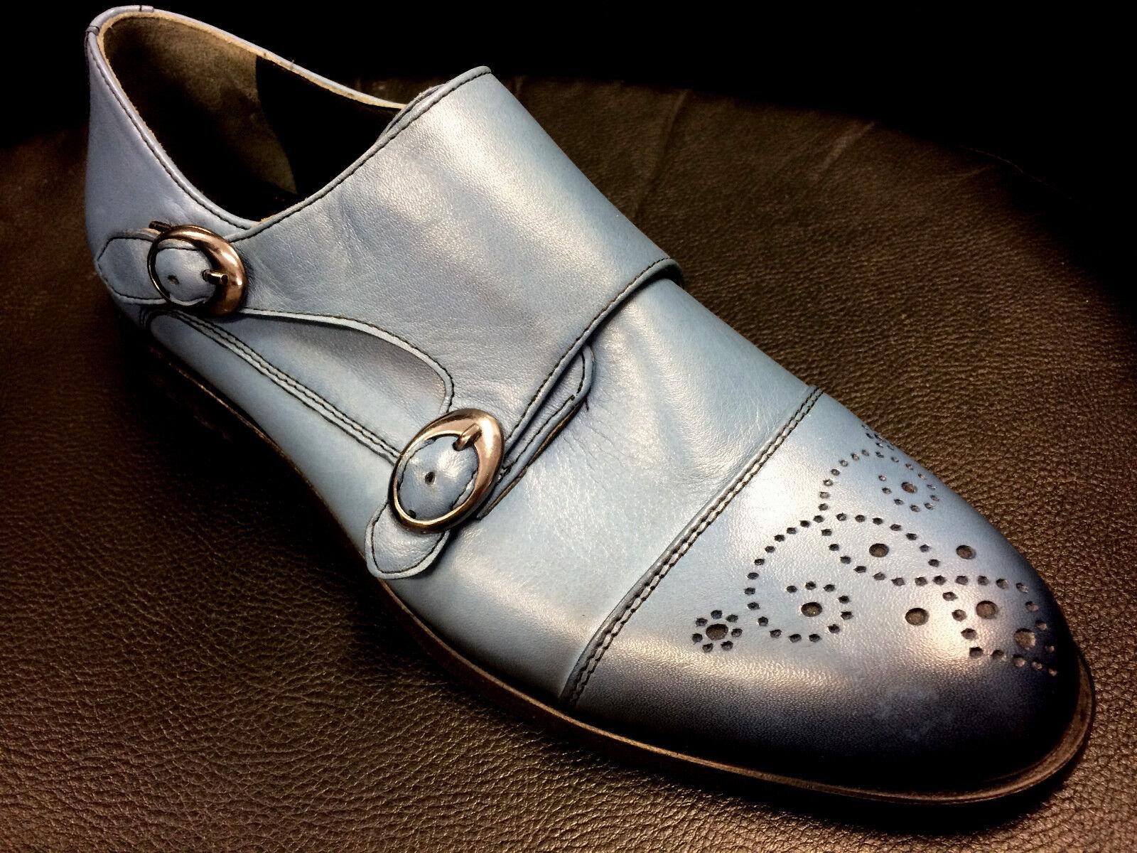 First Class plus Designer Slipper zapatos doble hebilla a mano Handmade 41