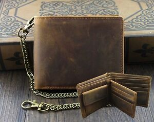 Mens-Wallet-with-Chain-Leather-Brown-Biker-VINTAGE-Coin-Card-Holder