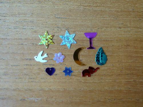 lune coeurs fleurs feuilles oiseaux 100 sequins dans une variété de formes: étoiles