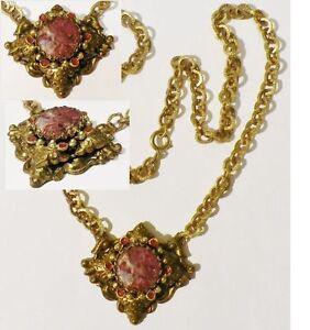 collier-bijou-ancien-maillon-grave-deco-pierre-taille-fleur-couleur-or-3593