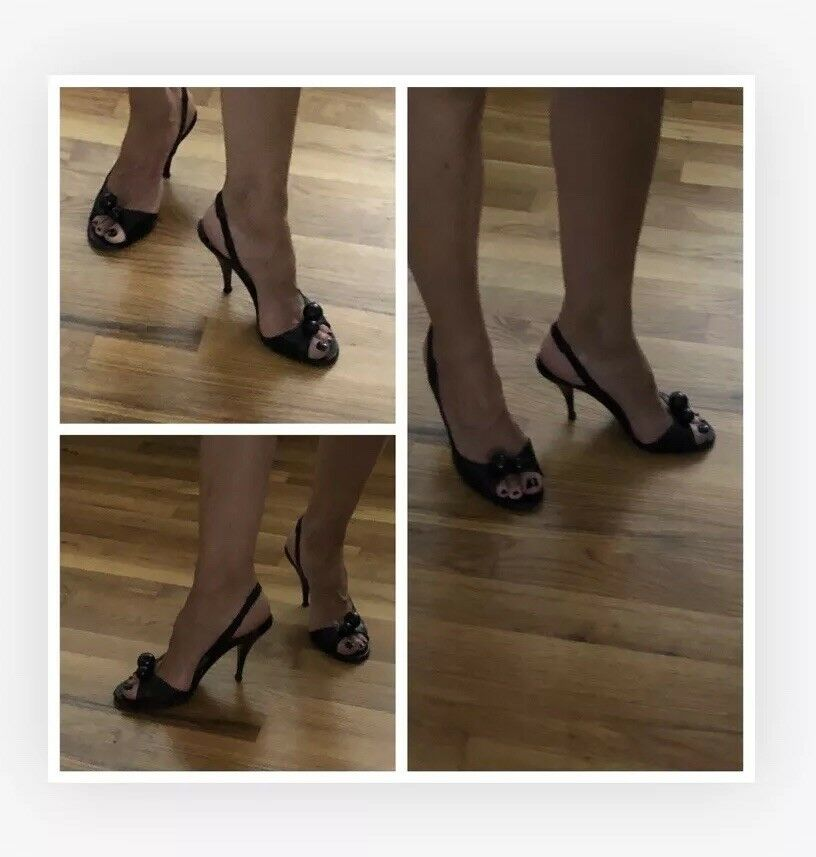 Marc Jacobs Jacobs Jacobs Pump Heel schwarz leather Größe 6 Peep Toe d2a3c6