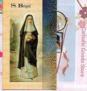 Details About Saint St Brigid Biography Prayer Feast Day Etc Folder Card