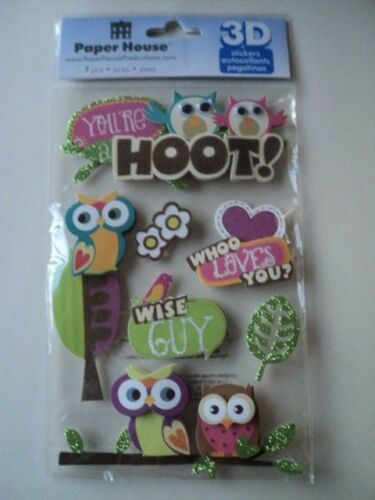 PAPER HOUSE YOU/'RE A HOOT 3D STICKERS BNIP *NEW*