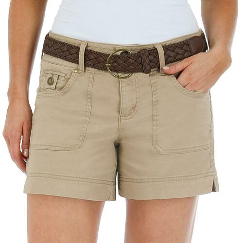 ASSORTED SIZES NEW ONE 5 ONE WOMEN/'S BRAIDED BELTED SHORT COLOR KHAKI