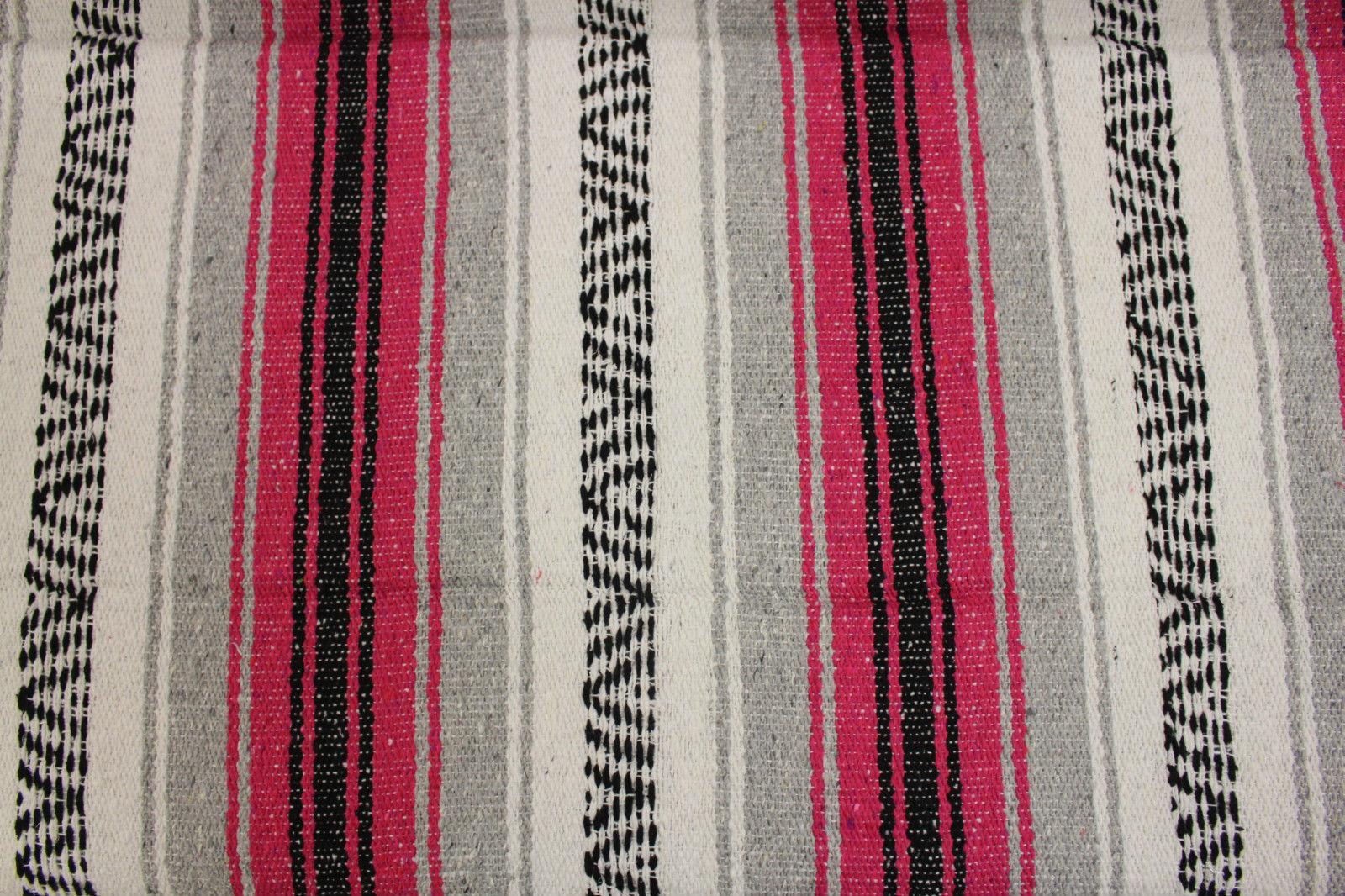Genuine Mexican falsa western blanket in a pink & grey theme throw mat yoga rug