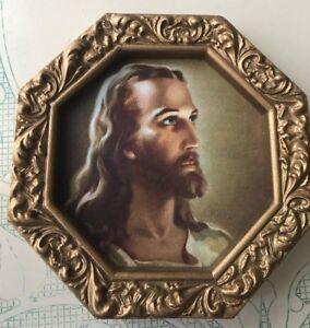 HEAD-OF-JESUS-Print-in-Gold-Hexagon-Frame-No-Glass-Catholic-Art-Christian-1984