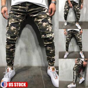 Mens-Sporty-Denim-Ripped-Distressed-Jeans-Skinny-Pants-Biker-Slim-Fit-Trousers