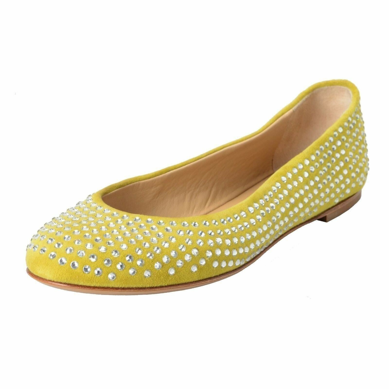 Giuseppe Zanotti Design Women's Green Suede Beaded Ballet Flats shoes US 8 IT 39
